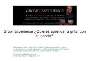 Fragmento del anuncio de Growl Experience en la web de Badanotis